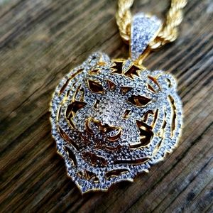 14k Gold Plated Simulated Diamond Tiger Necklace